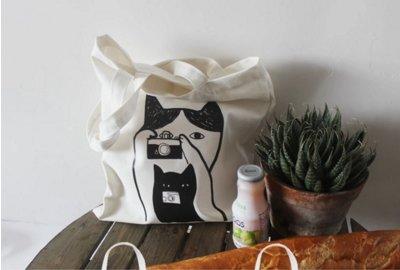 笑一個貓咪幫你拍照帆布包