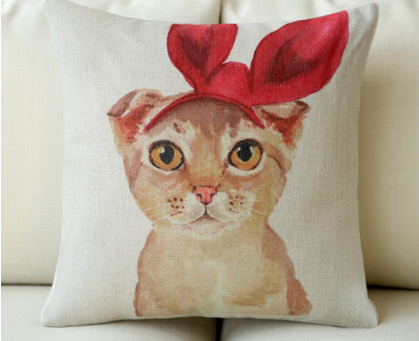 美式鄉村貴婦貓棉麻抱枕