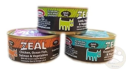 紐西蘭 Zeal《無榖犬餐罐》100g-雞肉鮭魚/海鮮鮭魚/羊肉蔬菜/牛肉蘋果
