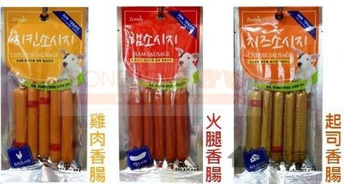 BOWWOW 韓國鮑爾 寵物犬香腸(5入)/狗狗零食/寵物點心/熱狗零嘴 (起司/雞肉/火腿)
