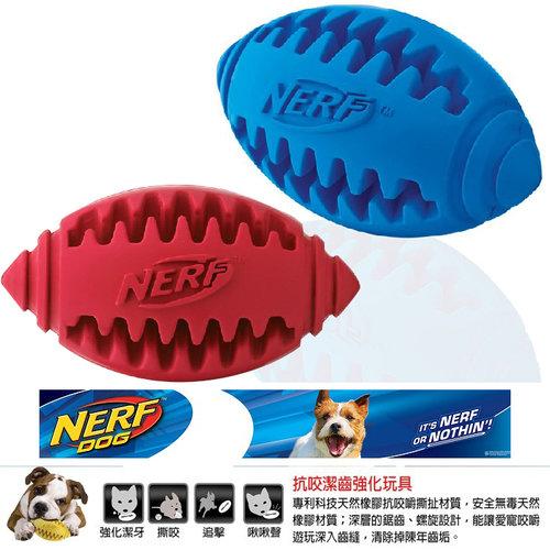 NERF樂活打擊─ 藍色/紅色 犬用齒型橄欖球玩具5/犬用玩具/狗玩具/橡膠玩具