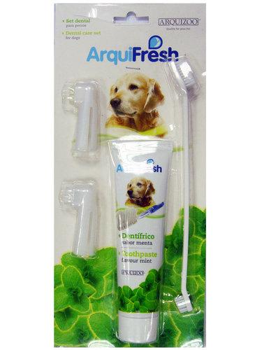 西班牙寵物牙刷組 狗狗牙膏 小狗潔牙組 (清新薄菏)ArquiFresh/預防牙結石 口氣清新