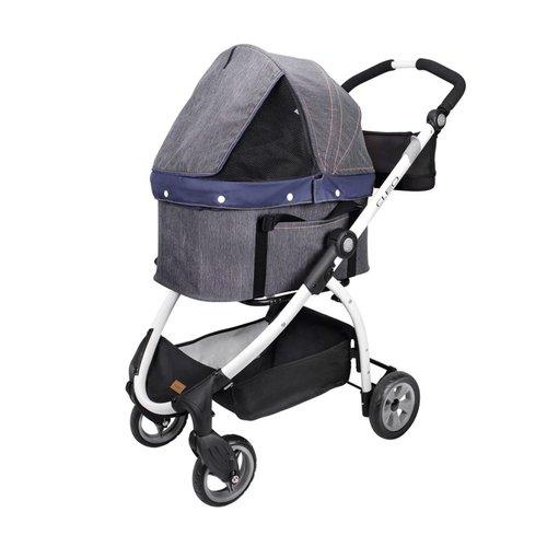 ibiyaya依比呀呀/單寧瘋提籃式寵物推車FS1591-D/寵物推車/寵物提袋/犬貓提袋