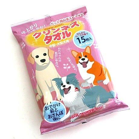 日本Pet Paradise授權正品 [Pet'y Soin] 絲蛋白每日清潔紙巾【中大型犬用】15枚入