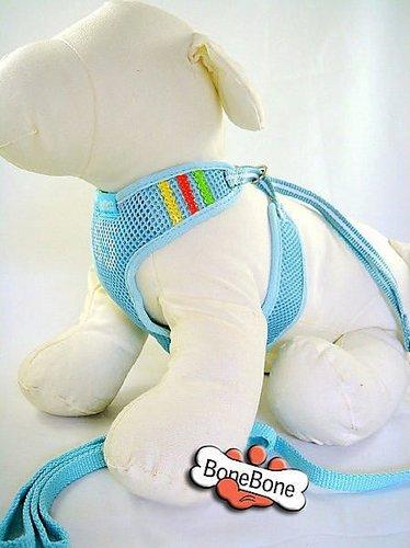 810835-運動風透氣網狀胸背帶寵物牽繩組☆粉藍☆粉紅☆ 狗胸背 寵物運動胸背