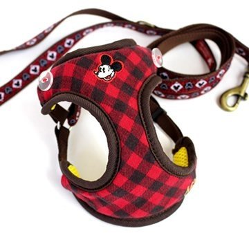 Pet Paradise 日本 Disney Mickey 迪士尼米 紅色格紋 犬貓寵物用散步鞍帶胸背牽繩 3S