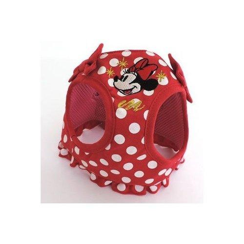 Pet Paradise 日本 Disney Mickey & Minnie 米妮紅底水玉蝴蝶結鞍帶胸背(無牽繩) S