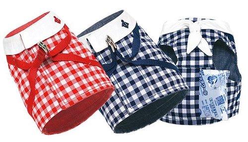 犬と生活(犬與生活) 寵物狗用格紋水手夏日胸背 紅色藍色 (內附保冷劑) 尺寸2號