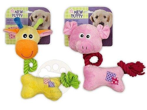 afp 絨毛幼犬玩具-棉繩動物造型玩具/寵物玩具/狗狗玩具/啾啾聲/長頸鹿/小豬