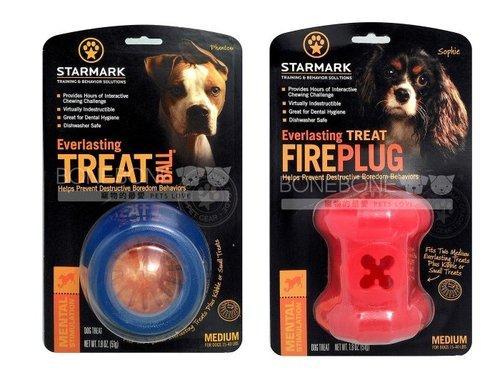 美國星記StarMark 消防栓造型/磨牙球 犬用橡膠狗玩具 M號 可放磨牙餅耐咬可機洗