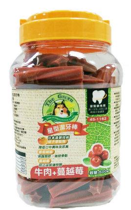The Green 星型潔牙棒 500g 小桶裝/The Green星型潔牙棒-牛肉+蔓越莓 500g/狗狗潔牙零食/犬用潔牙零嘴/保健食品
