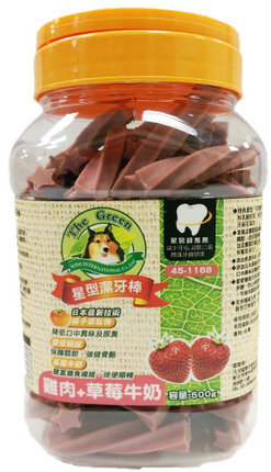 The Green 星型潔牙棒 500g 小桶裝/The Green星型潔牙棒-雞肉+草莓牛奶 500g/狗狗潔牙零食/犬用潔牙零嘴/保健食品