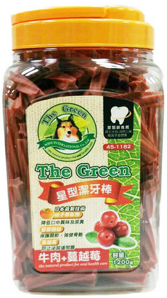 The Green 狗潔牙骨1200g大桶裝/The Green星型潔牙棒-牛肉+蔓越莓 1200g