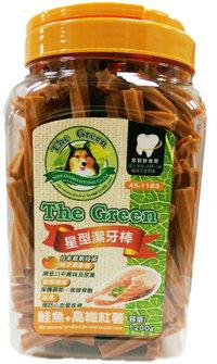 The Green 狗潔牙骨1200g大桶裝/The Green星型潔牙棒-鮭魚+高纖紅薯 1200g
