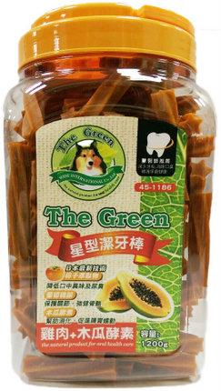 The Green 狗潔牙骨1200g大桶裝/The Green星型潔牙棒-雞肉+木瓜酵素 1200g