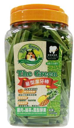 The Green 狗潔牙骨1200g大桶裝/The Green星型潔牙棒-雞肉+綠茶+鳳梨酵素 1200g