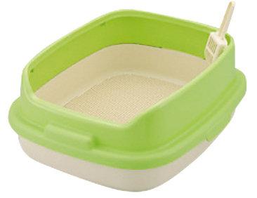 日本Richell利其爾 卡羅雙層貓便盆 貓砂盆(附貓砂鏟)雙層加高 綠色下標區