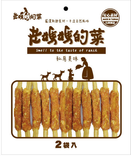 老媽媽的菜-雞肉起司牛皮棒棒腿(大)  雙包入 寵物零食 狗零食 雞肉零食45-1706