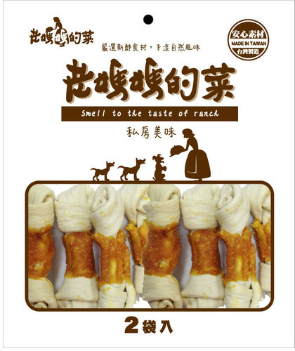 老媽媽的菜-雞肉牛奶牛皮結(大) 雙包入 寵物零食 狗零食 雞肉零食45-1715