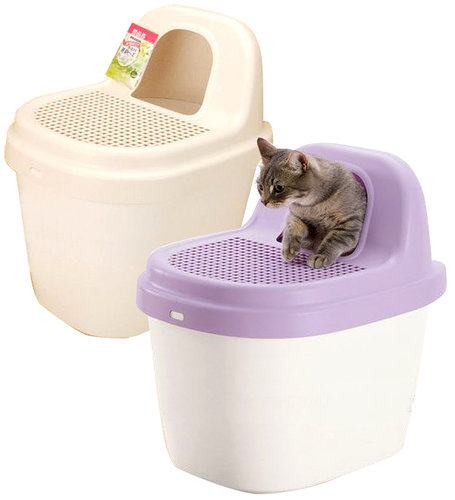 日本製 Richell Corole不沾砂貓馬桶 紫色/米色 貓砂盆 貓便盆 貓沙盆 貓便所 運費120元