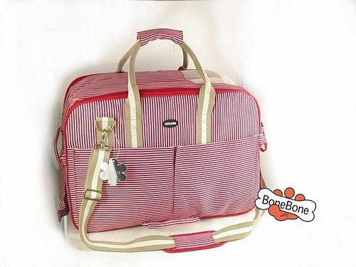 180RD-狗狗包包~歐風寵物手提帶(加大款附肩帶)☆紅色條紋☆~大尺寸