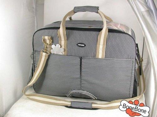 180BK-S-歐風寵物手提帶(加大款附肩帶)狗狗包包☆黑色條紋☆S號