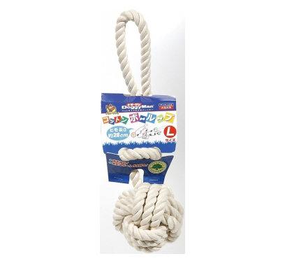 日本DoggyMan【犬用100%自然素材棉質長結繩潔牙遊戲球-L】大型犬用 狗玩具