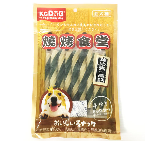 K.C.DOG 燒烤食堂 雙色螺旋潔牙骨(葉綠素+高鈣)袋裝150g/潔牙骨/狗狗潔牙