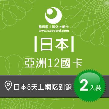 日本上網卡8天吃到飽_3GB後降速 (2入組)