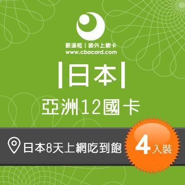 日本上網卡8天吃到飽_3GB後降速 (4入組)