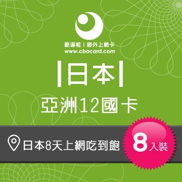日本上網卡8天吃到飽_3GB後降速 (8入組)