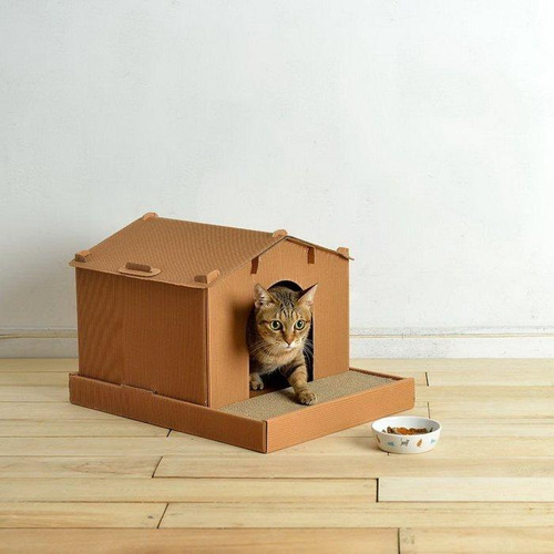 別墅喵屋 貓抓板 貓跳台 貓屋 貓窩50*38*34cm 可承載18kg /赫根可參考