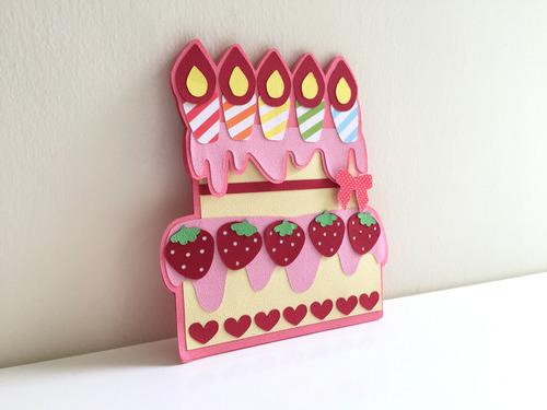 草莓蛋糕手作生日卡