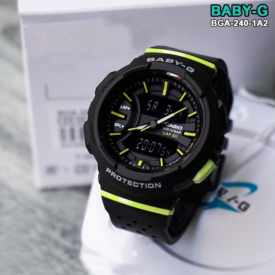 513fd698be02 Casio Baby-G BGA-240-1A2 Black Dual Time Running Watch