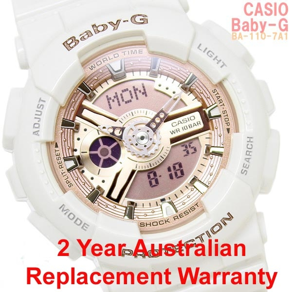 386230532a3 Buy Casio Baby-G BA-110-7A1 White x Rose Gold Watch
