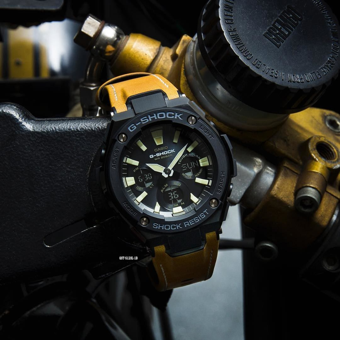 f088f340d Buy Casio G-Shock GST-S120-1B GSteel Leather Band Watch