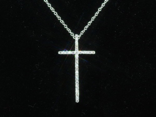 全新18K白金19份真鑽石十字架吊咀|十字架系列 |Tiffany Cross 十字架款 幼身吊墜