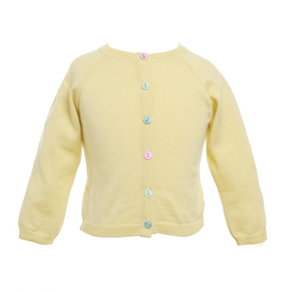 Girls Yellow Cotton Cardigan