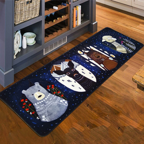 北歐風冬季動物針織地毯