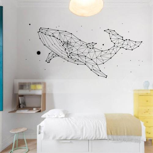 北歐幾何鯨魚壁貼