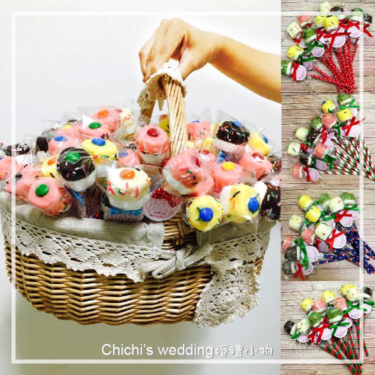 婚禮週邊-聖誕手工大棉花棒棒糖100支綜合加大提籃含運(低溫)