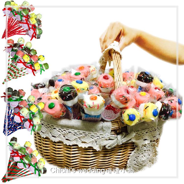 婚禮週邊-聖誕手工大棉花棒棒糖100支綜合加大提籃