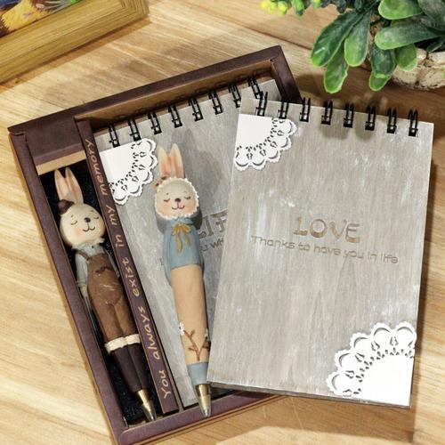兔子復古木質筆記本