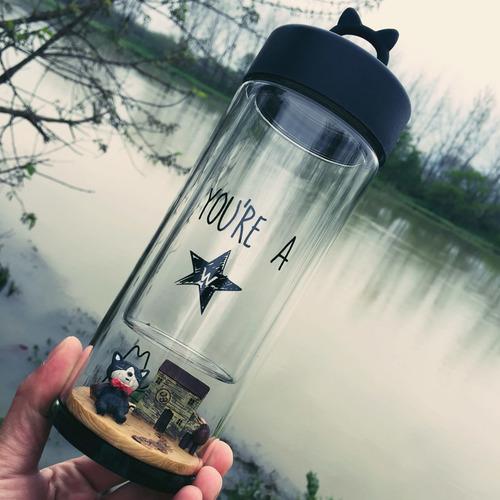 創意景觀雙層玻璃水瓶