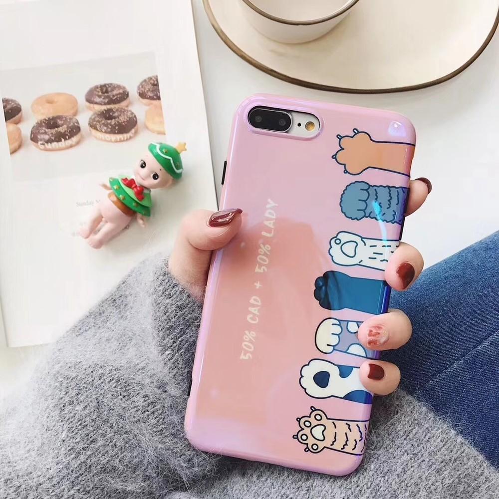 出清SALE【藍光烤瓷升級版】烤瓷貓掌粉嫩iPhone手機殼