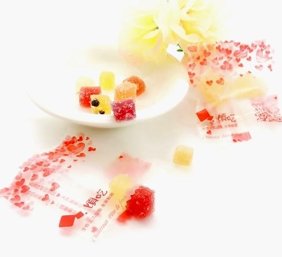 婚禮週邊-專案合作50包下單頁-『法式軟糖愛心喜糖包(混合口味)』-50包-每包2顆法式軟糖5g  迎賓婚禮小物/送客法式喜糖 ★乾果醬/膳食纖維水果軟糖❤❤