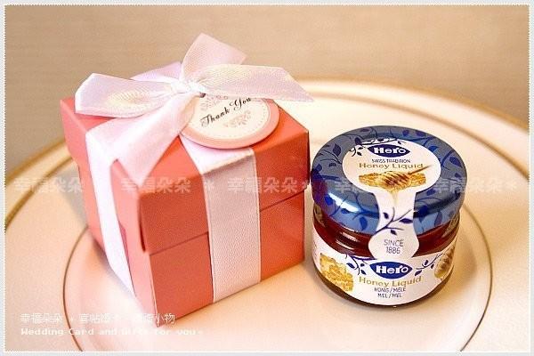 婚禮週邊-Pink粉紅盒裝--瑞士進口喜諾Hero小蜂蜜送客禮盒