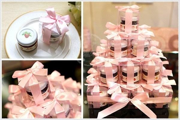 婚禮週邊-甜蜜蜜「透明盒裝」奧地利D'arbo果醬小禮盒 x 30盒 (粉紅色緞帶)