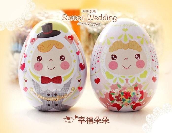 婚禮週邊-新郎新娘彩蛋喜糖盒(贈紗袋)