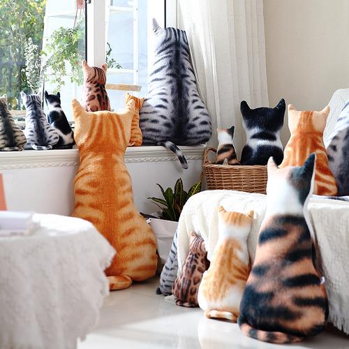 可愛貓咪花紋背影抱枕